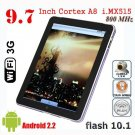"""9.7"""" Android2.2 Tablet PC Freescale iMX515  A8 512M 8GB Flash 10.1 Camera touch screen MID"""