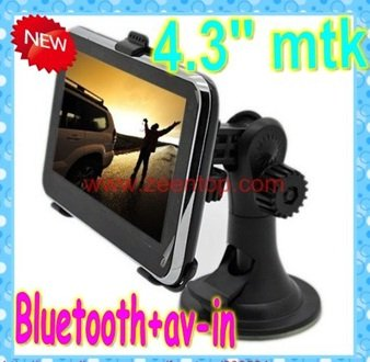 PROMOTION!,4.3'' gps with basic functions,BLUETOOTH and AV-IN,MTK,4GB with 2011 3D Map