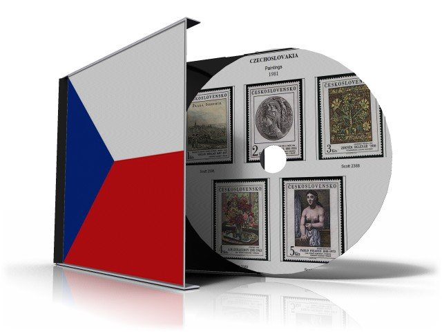 CZECHOSLOVAKIA  STAMP ALBUM PAGES CD 1920-1992 (315 color illustrated pages)