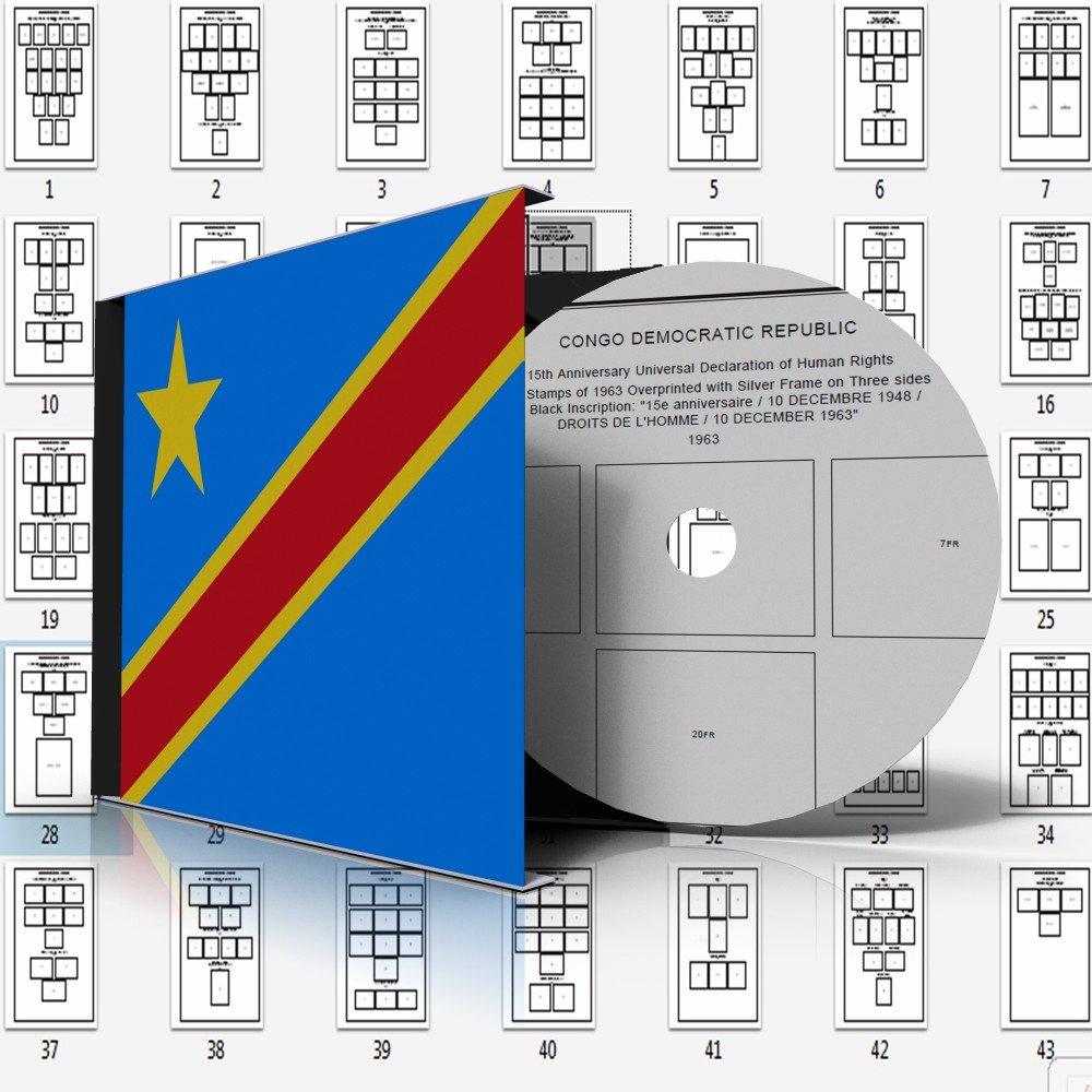 CONGO [DEMOCRATIC REPUBLIC] STAMP ALBUM PAGES 1952-1963 (43 pages)