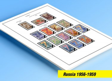 COLOR PRINTED RUSSIA 1956-1959 STAMP ALBUM PAGES (48 illustrated pages)