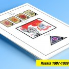 COLOR PRINTED RUSSIA 1987-1989 STAMP ALBUM PAGES (44 illustrated pages)