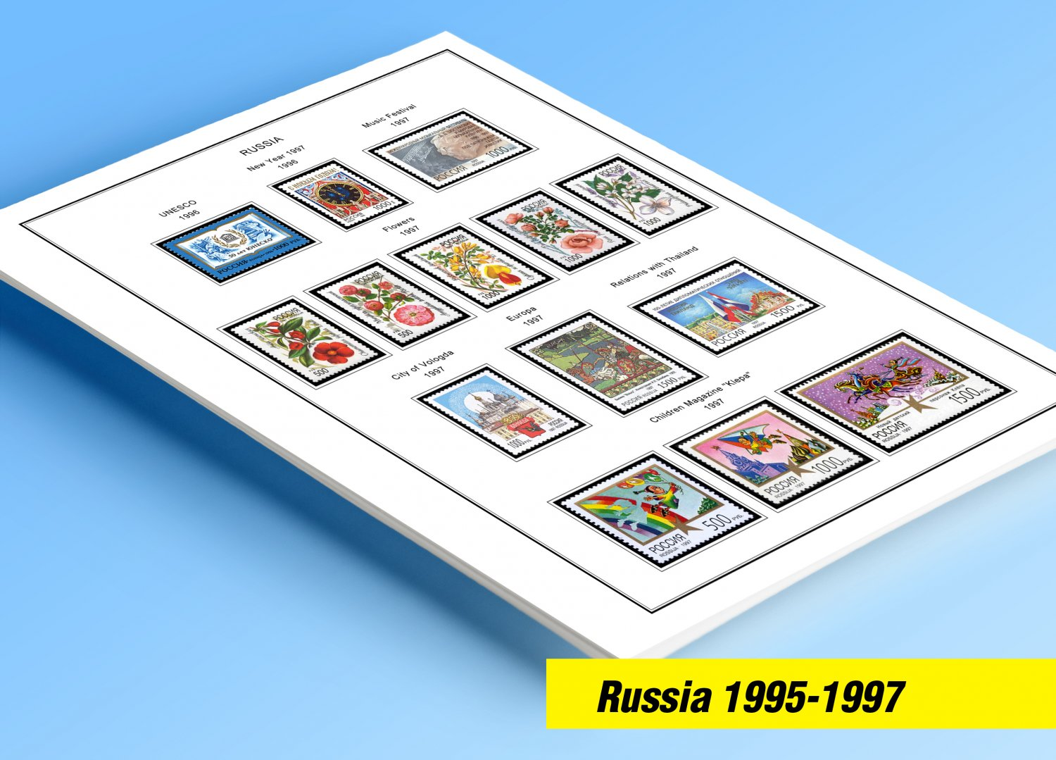 COLOR PRINTED RUSSIA 1995-1997 STAMP ALBUM PAGES (58 illustrated pages)