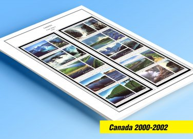 COLOR PRINTED CANADA 2000-2002 STAMP ALBUM  PAGES (45 illustrated pages)