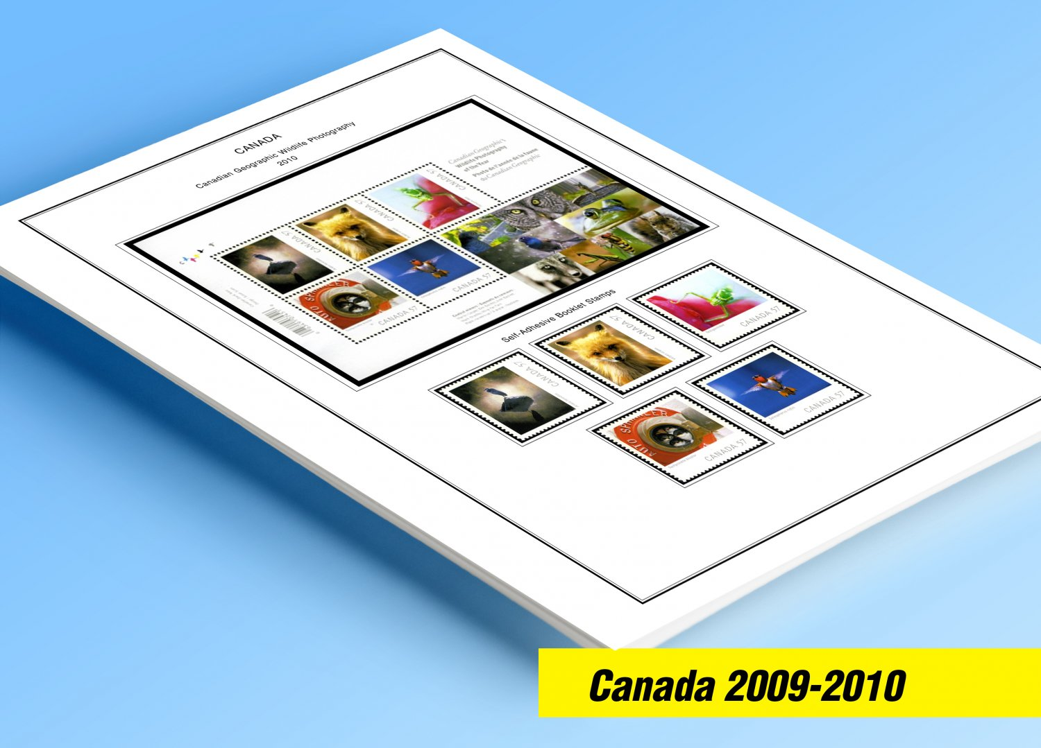 COLOR PRINTED CANADA 2009-2010 STAMP ALBUM PAGES (32 illustrated pages)