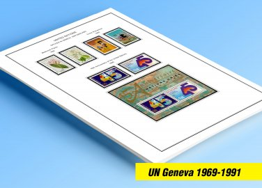 COLOR PRINTED UNITED NATIONS - GENEVA OFFICES 1969-1991 STAMP ALBUM PAGES (30 illustrated pages)