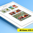 COLOR PRINTED UNITED NATIONS - VIENNA OFFICES 1979-1993 STAMP ALBUM PAGES (27 illustrated pages)