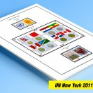 COLOR PRINTED UNITED NATIONS - NEW YORK OFFICES  2011-2013 STAMP ALBUM PAGES (17 illustrated pages)
