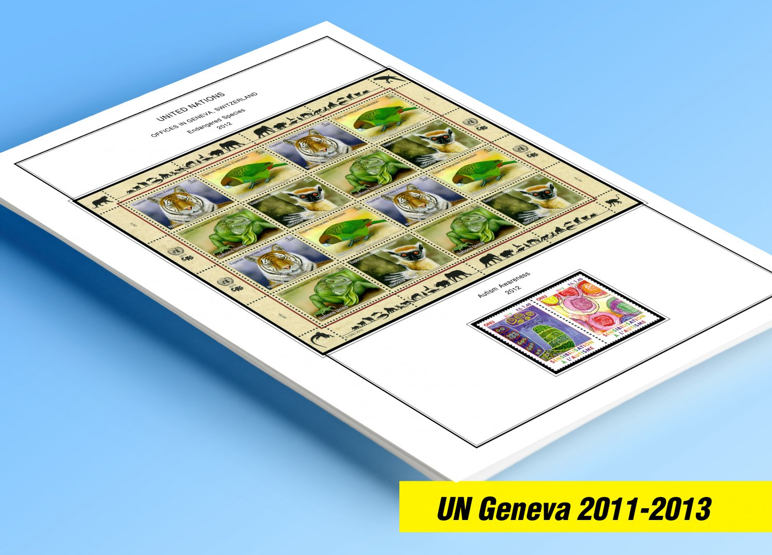 COLOR PRINTED UNITED NATIONS - GENEVA OFFICES  2011-2013 STAMP ALBUM PAGES (15 illustrated pages)