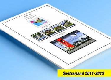 COLOR PRINTED SWITZERLAND 2011-2013 STAMP ALBUM PAGES (19 illustrated pages)