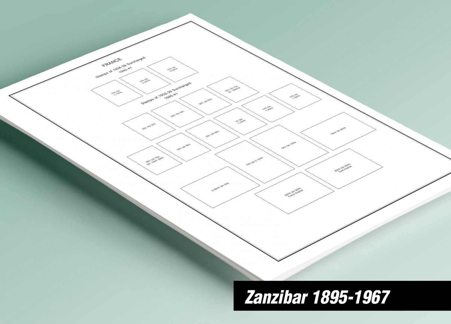 PRINTED ZANZIBAR 1895-1967 STAMP ALBUM PAGES (25 pages)