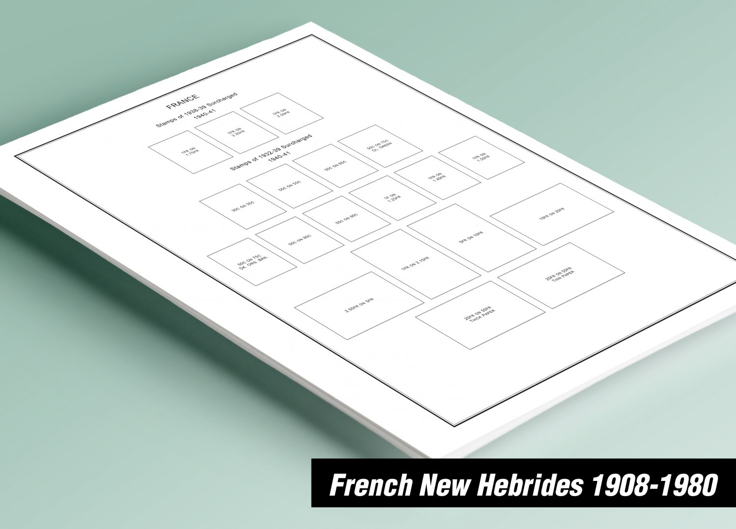 PRINTED FRENCH NEW HEBRIDES 1908-1980 STAMP ALBUM PAGES (34 pages)
