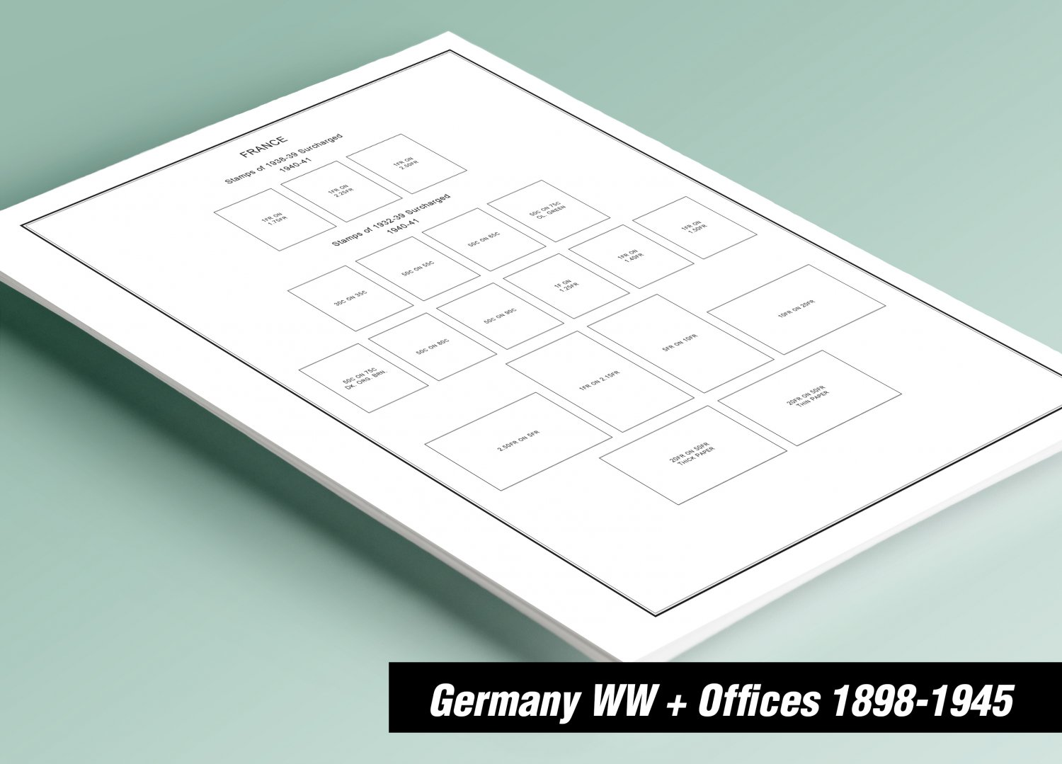 PRINTED GERMANY WW+ OFFICES 1898-1945 STAMP ALBUM PAGES (91 pages)