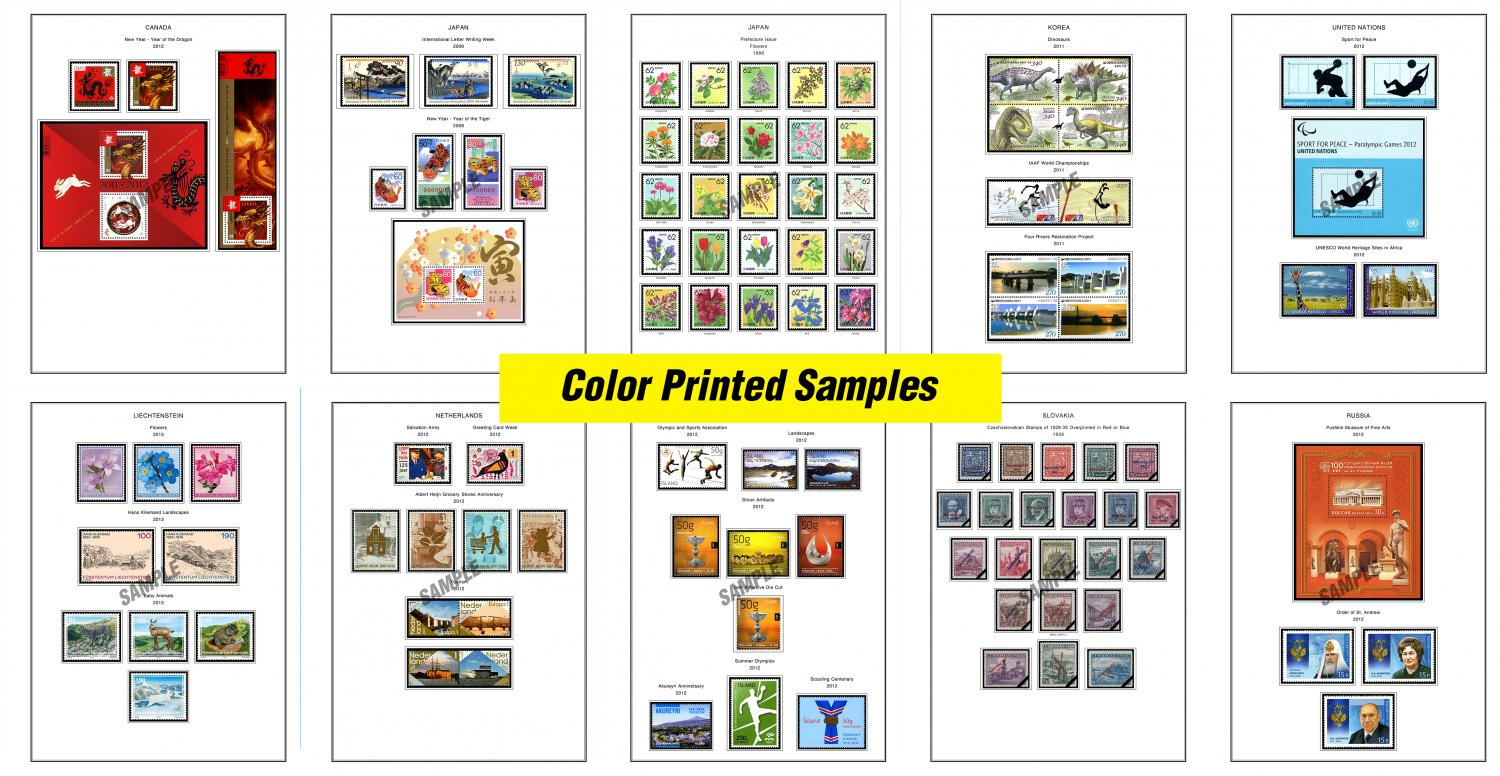 COLOR PRINTED STAMP ALBUM PAGES SAMPLES (10 color illustrated pages)
