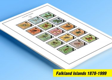 COLOR PRINTED FALKLAND ISLANDS 1878-1999 STAMP ALBUM PAGES (91 illustrated pages)