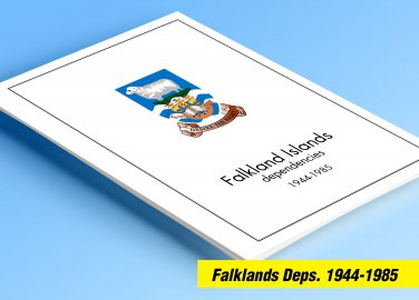 FALKLAND ISLANDS DEPENDENCIES 1944-1985 COLOR PRINTED STAMP ALBUM PAGES  (15 illustrated pages)