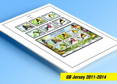 COLOR PRINTED GB JERSEY 2011-2014 STAMP ALBUM PAGES (46 illustrated pages)