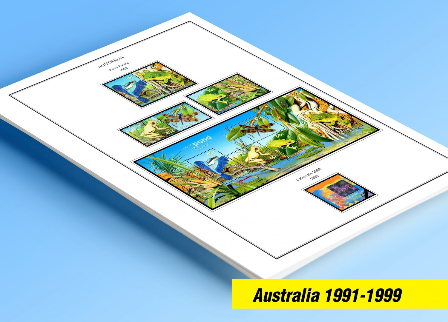 COLOR PRINTED AUSTRALIA 1991-1999 STAMP ALBUM PAGES (95 illustrated pages)