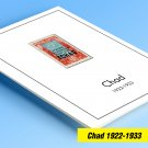 COLOR PRINTED CHAD 1922-1933 STAMP ALBUM PAGES (6 illustrated pages)