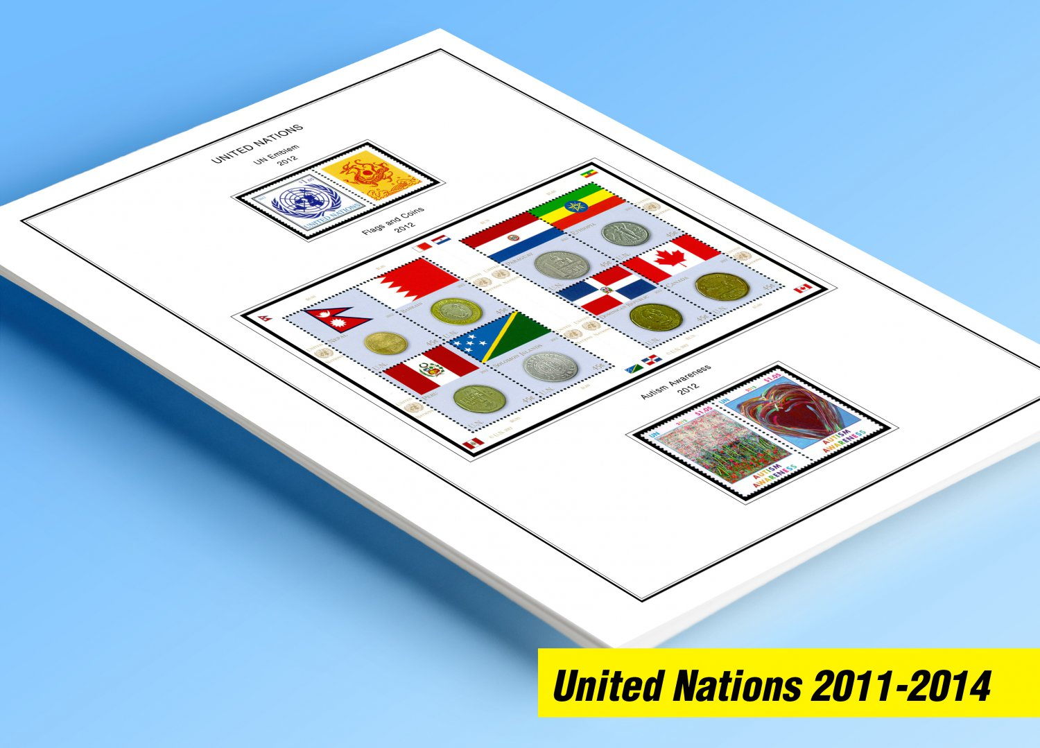 COLOR PRINTED UNITED NATIONS 2011-2014 STAMP ALBUM PAGES (66 illustrated pages)