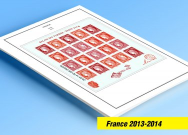 COLOR PRINTED FRANCE 2013-2014 STAMP ALBUM PAGES (64 illustrated pages)