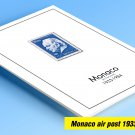 COLOR PRINTED MONACO AIR POST 1933-1984 STAMP ALBUM PAGES  (14 illustrated pages)