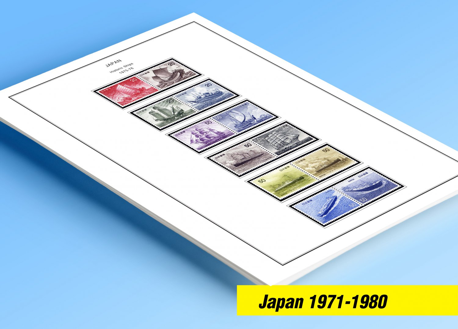 COLOR PRINTED  JAPAN 1971-1980 STAMP ALBUM PAGES (43 illustrated pages)