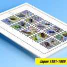 COLOR PRINTED JAPAN 1981-1989 STAMP ALBUM  PAGES (53 illustrated pages)