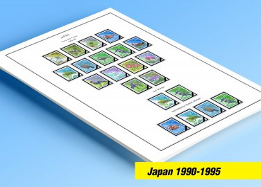 COLOR PRINTED JAPAN 1990-1995 STAMP ALBUM PAGES (39 illustrated pages)