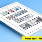 COLOR PRINTED FRANCE 1988-1992 STAMP ALBUM PAGES (22 illustrated pages)