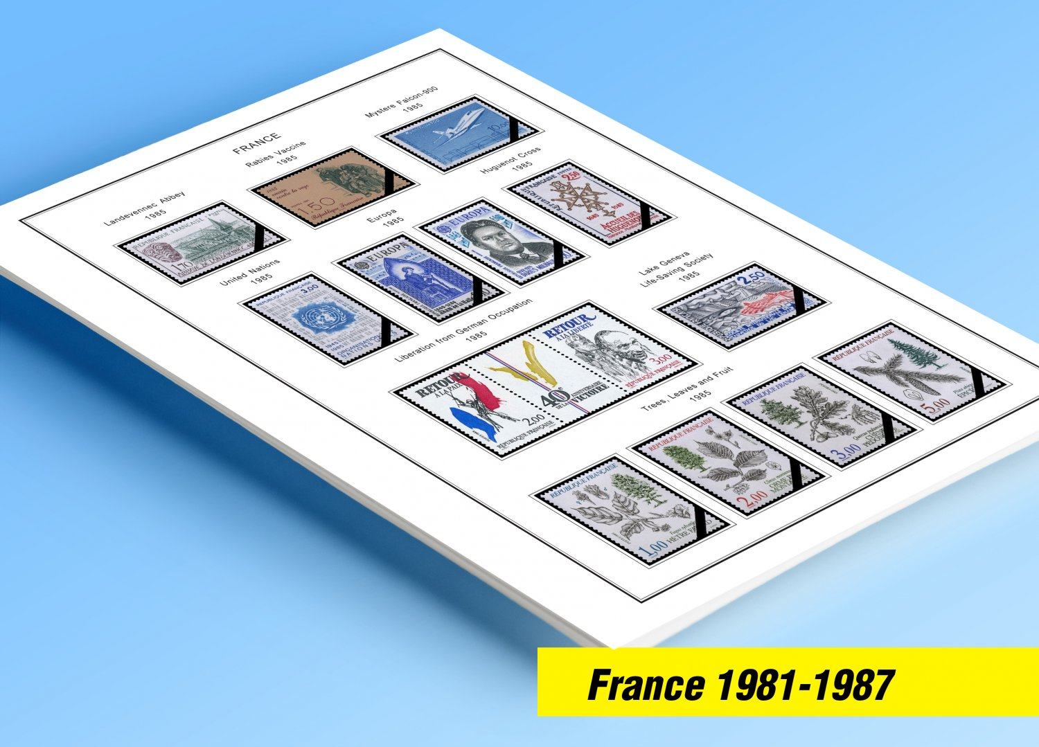 COLOR PRINTED FRANCE 1981-1987 STAMP ALBUM PAGES (30 illustrated pages)