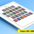 COLOR PRINTED FRANCE 1941-1959 STAMP ALBUM PAGES (37 illustrated pages)