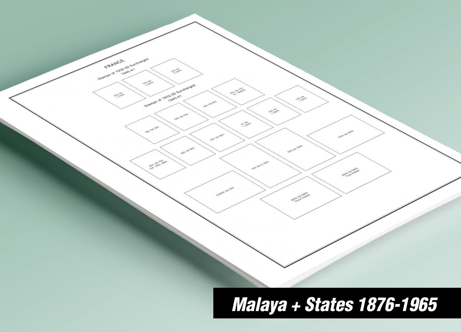 PRINTED MALAYA + MALAYA STATES 1876-1965 STAMP ALBUM PAGES (100 pages)