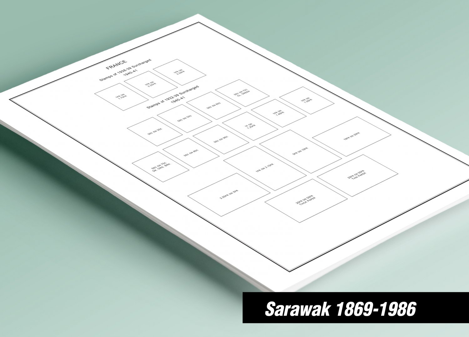 PRINTED SARAWAK 1869-1986 STAMP ALBUM PAGES (16 pages)