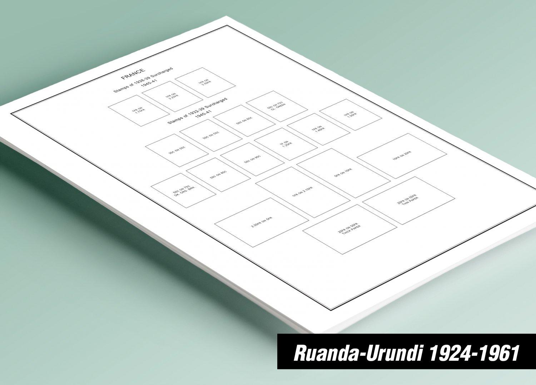 PRINTED RUANDA-URUNDI 1924-1961 STAMP ALBUM PAGES (17 pages)