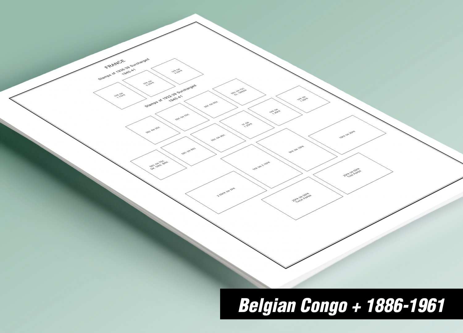 PRINTED BELGIAN CONGO 1886-1957 STAMP ALBUM PAGES (43 pages)