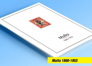 COLOR PRINTED MALTA [CLASS.] 1860-1953 STAMP ALBUM PAGES (19 illustrated pages)