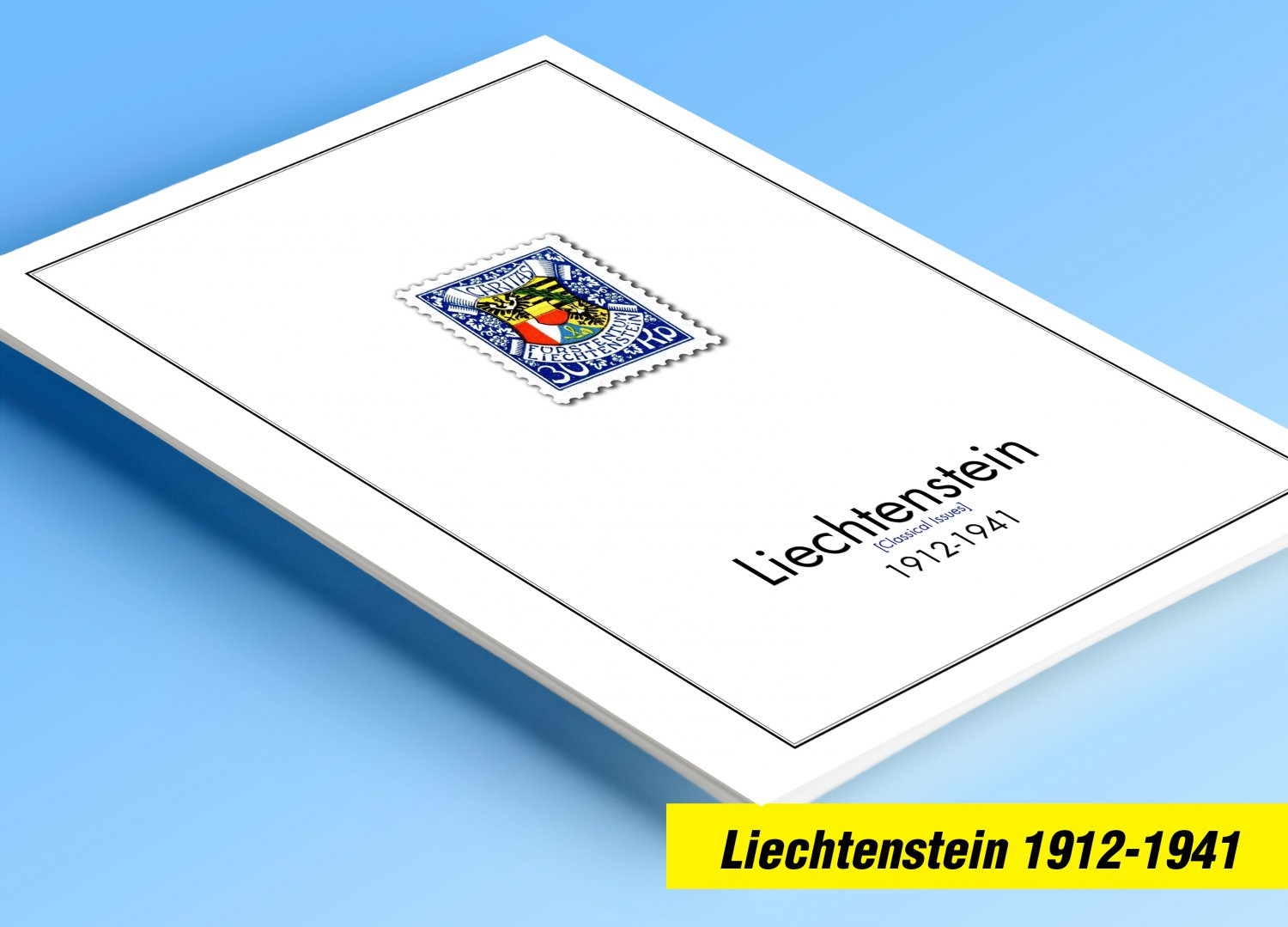 COLOR PRINTED LIECHTENSTEIN [CLASS.] 1912-1941 STAMP ALBUM PAGES (23 illustrated pages)