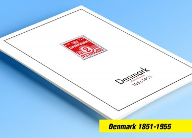COLOR PRINTED DENMARK [CLASS] 1851-1955 STAMP ALBUM PAGES (27 illustrated pages)