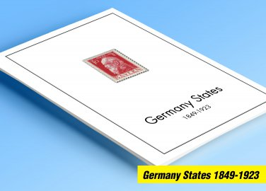 COLOR PRINTED GERMANY STATES 1849-1923 STAMP ALBUM PAGES (66 illustrated pages)