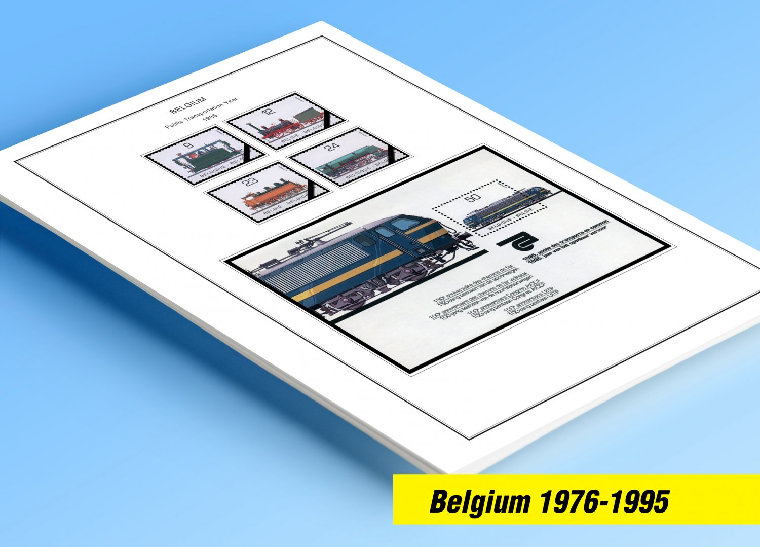 COLOR PRINTED BELGIUM 1976-1995 STAMP ALBUM PAGES (68 illustrated pages)