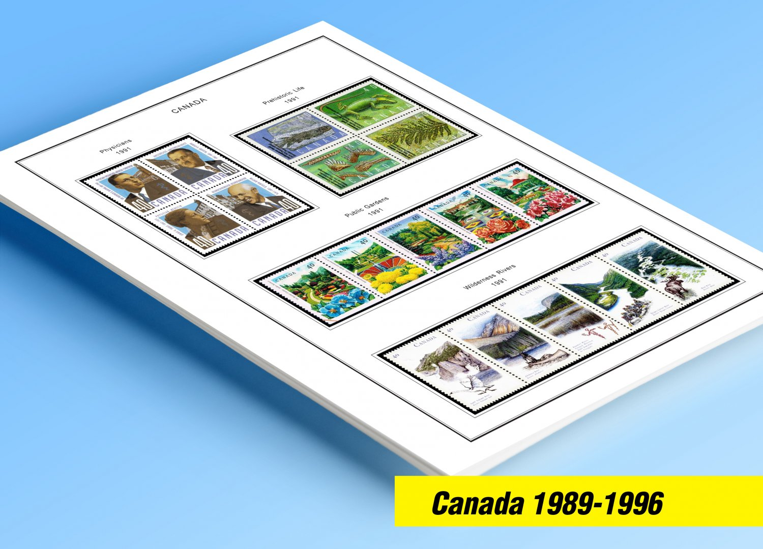 COLOR PRINTED CANADA 1989-1996 STAMP ALBUM PAGES (50 illustrated pages)