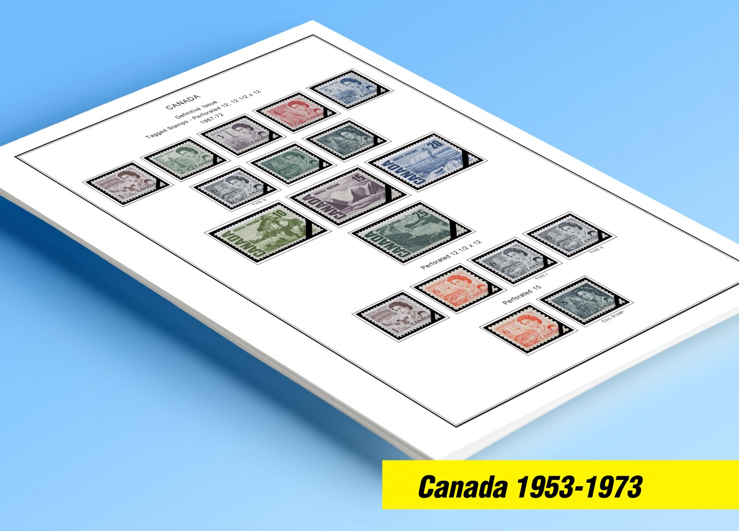 COLOR PRINTED CANADA 1953-1973 STAMP ALBUM PAGES (32 illustrated pages)