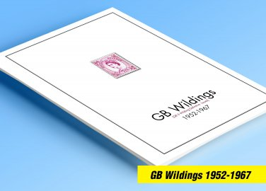 COLOR PRINTED GREAT BRITAIN WILDING ISSUES 1952-1967 STAMP ALBUM PAGES (10 illustrated pages)
