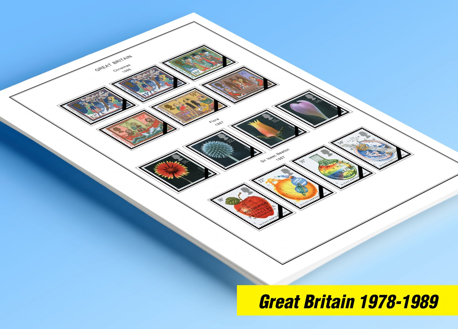 COLOR PRINTED GREAT BRITAIN 1978-1989 STAMP ALBUM PAGES (51 illustrated pages)