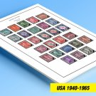 COLOR PRINTED U.S.A. 1940-1965 STAMP ALBUM PAGES (37 illustrated pages)
