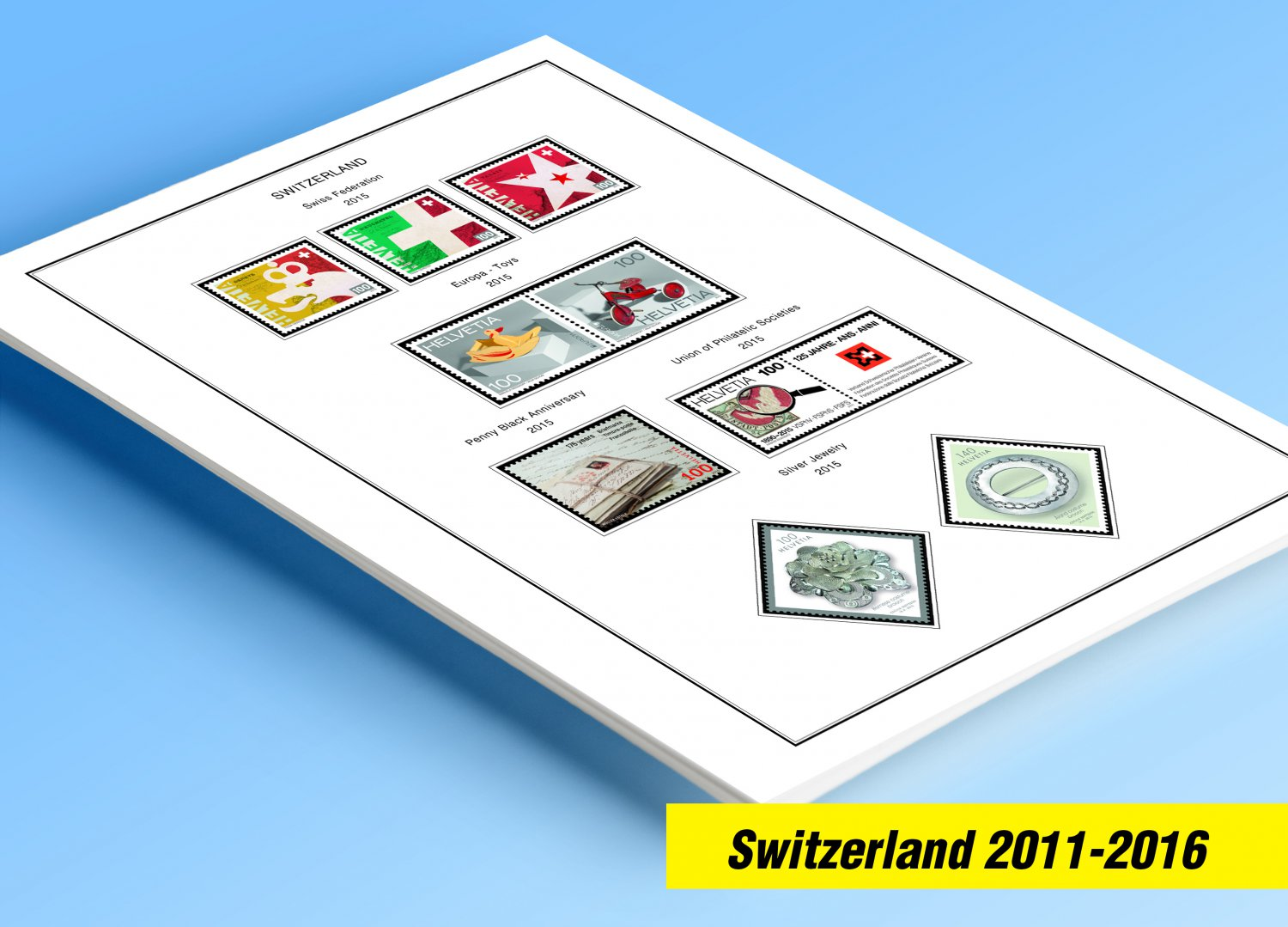 COLOR PRINTED SWITZERLAND 2011-2016 STAMP ALBUM PAGES (37 illustrated pages)