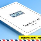 COLOR PRINTED ZEPPELIN AIRMAIL 1928-1936 STAMP ALBUM PAGES (30 illustrated pages)