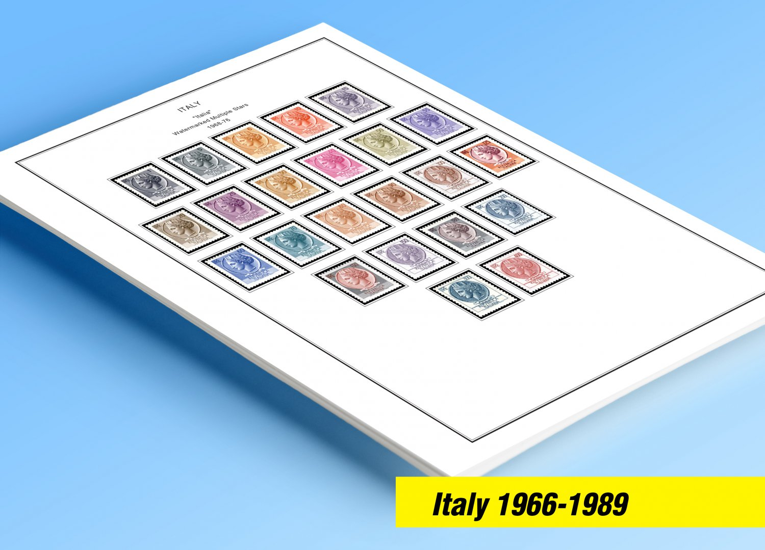 COLOR PRINTED ITALY 1966-1989 STAMP ALBUM PAGES (79 illustrated pages)