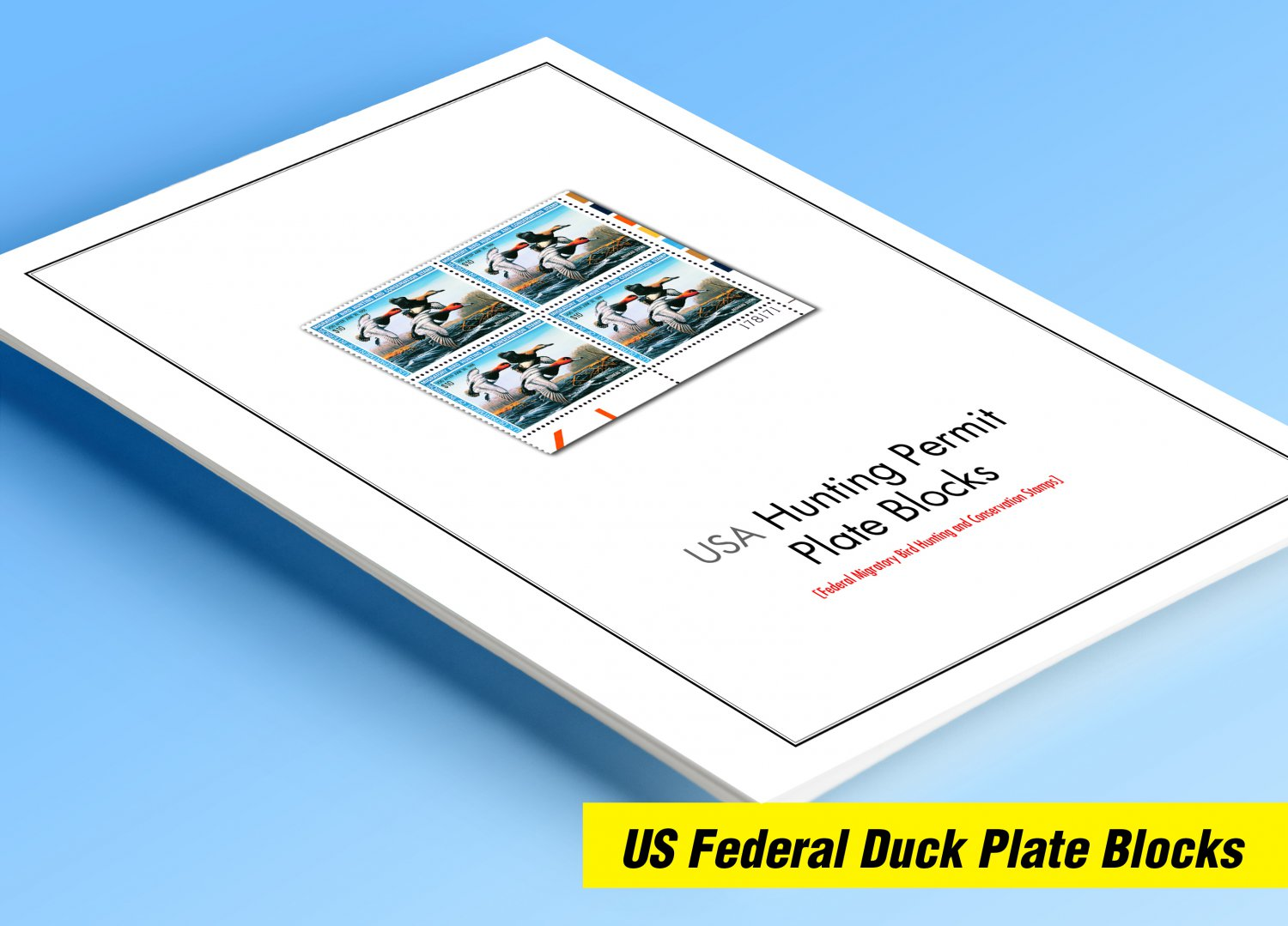 COLOR PRINTED USA FEDERAL DUCK PLATE BLOCKS 1934-2019 STAMP ALBUM PAGES (90 illustrated pages)